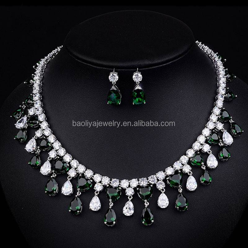 New 2015 Rhinestone indian bridal Jewelry african necklace wedding jewelry set