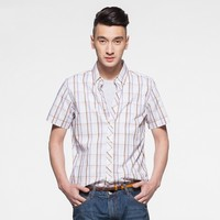 best selling factory price cheapesr 100% cotton short sleeve colorful checkered men shirt