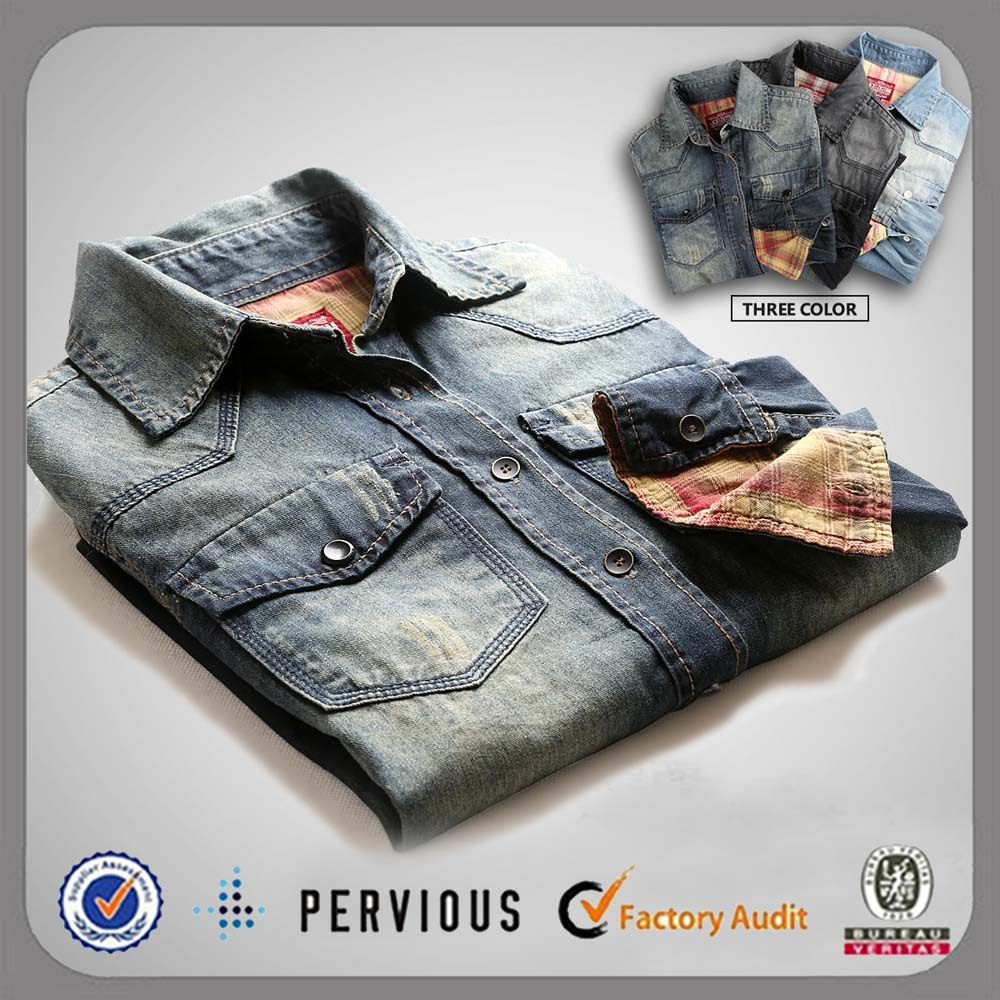 2016 new model mens latest design custom denim shirts wholesale