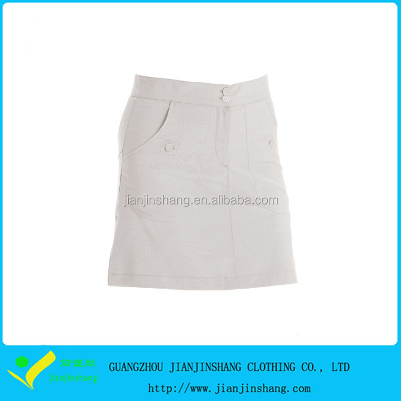 Relax Fitted Plain Blank White Color Custom Pocket Ladies Sales Golf Skorts