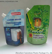 Stand up bottom gusset pouch with spout/liquid food packaging bag with straw/Stand Up Spout Pouch For Drink Packaging