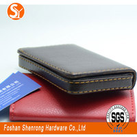 hot sale leather metal business card holder decorative cube pu card case