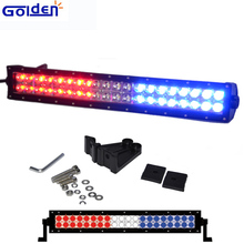 Roof top rack hood screw mount red blue 120W 50 inch curved led light bar for jeep suv off road