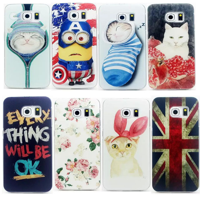 20 Style New Hot Sale Sleeping Sock Cat Flowers Rabbits Flags Letter Print LOGO Plastic Hard Phone Case For Samsung