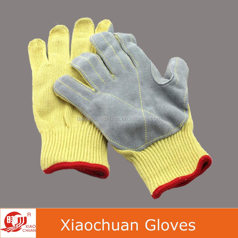 Yellow Kevlar Cut Resistant Cow Leather Industrial Safety Work Gloves