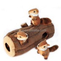 Plush Burrow Log and Chipmunks Squeaky Hide and Seek Plush Dog Toy