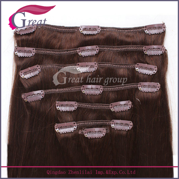 "Greathairgroup120g/pack brown color 22"" Remy hair clip in hair weft"