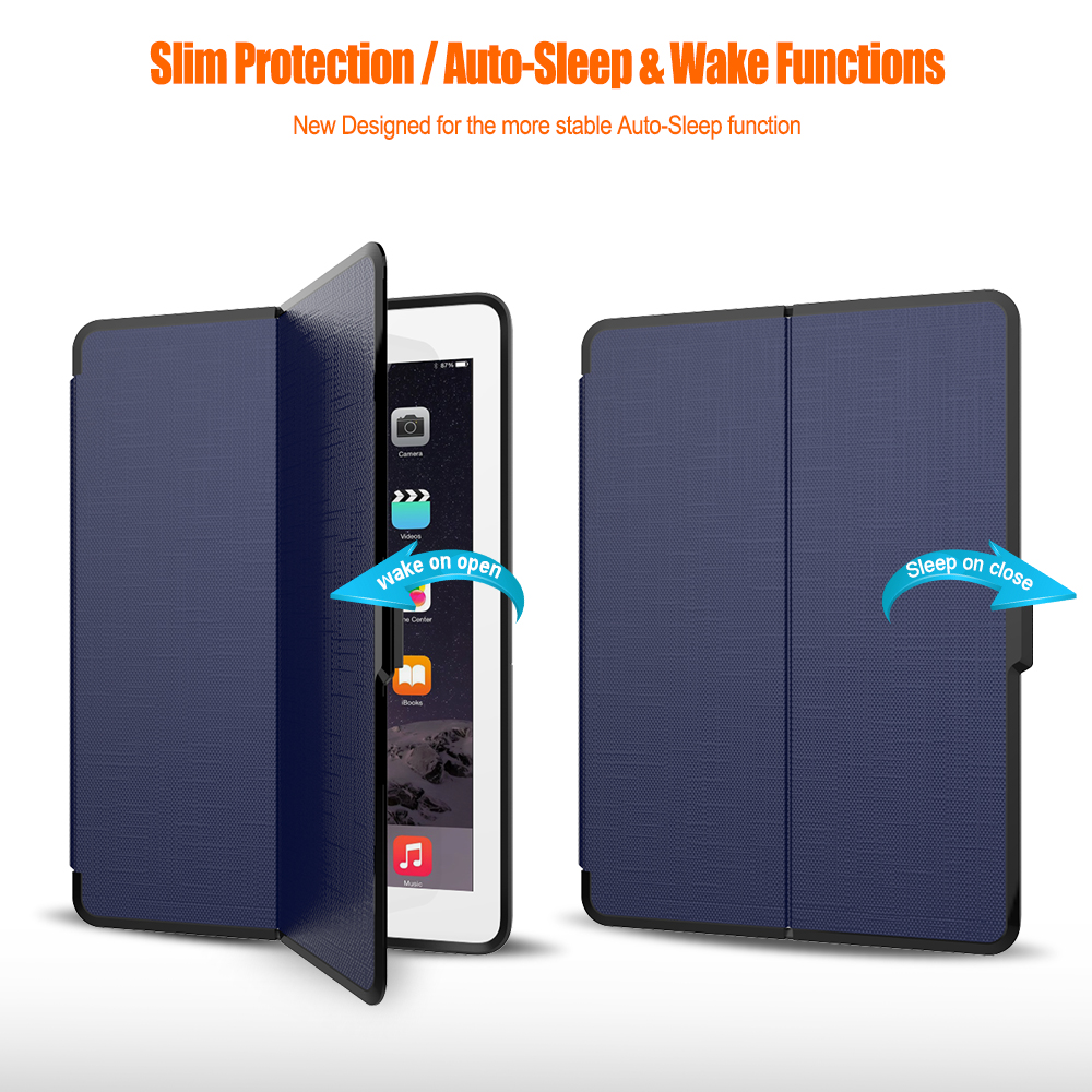 Full Body Protective Case for New iPad 9.7 Case Smart Cover for iPad 9.7 2017 ipad air With Auto Sleep and Wake