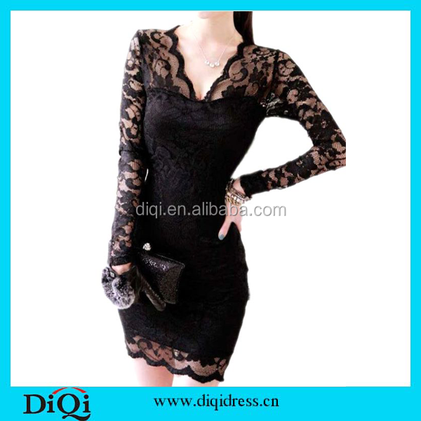 Guangzhou Women Clothes Sexy Lady Women Black Long Sleeve Evening Party Cocktail Slim Lace Mini Dress Homecoming dress