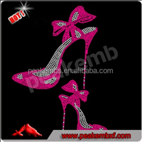 Bling Crystal Rhinestone Shoe Diva Hotfix Custom Motif High Heel Shoe for Lady Shirt no Tag