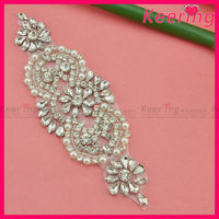 Garment accessories custom Embroidered bridal crystal beaded neckline sash belts rhinestone applique iron on