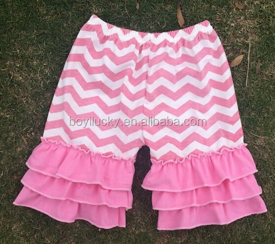 wholesale baby double ruffled shorts boutique solid color children cotton ruffle shorts Multicolor optional