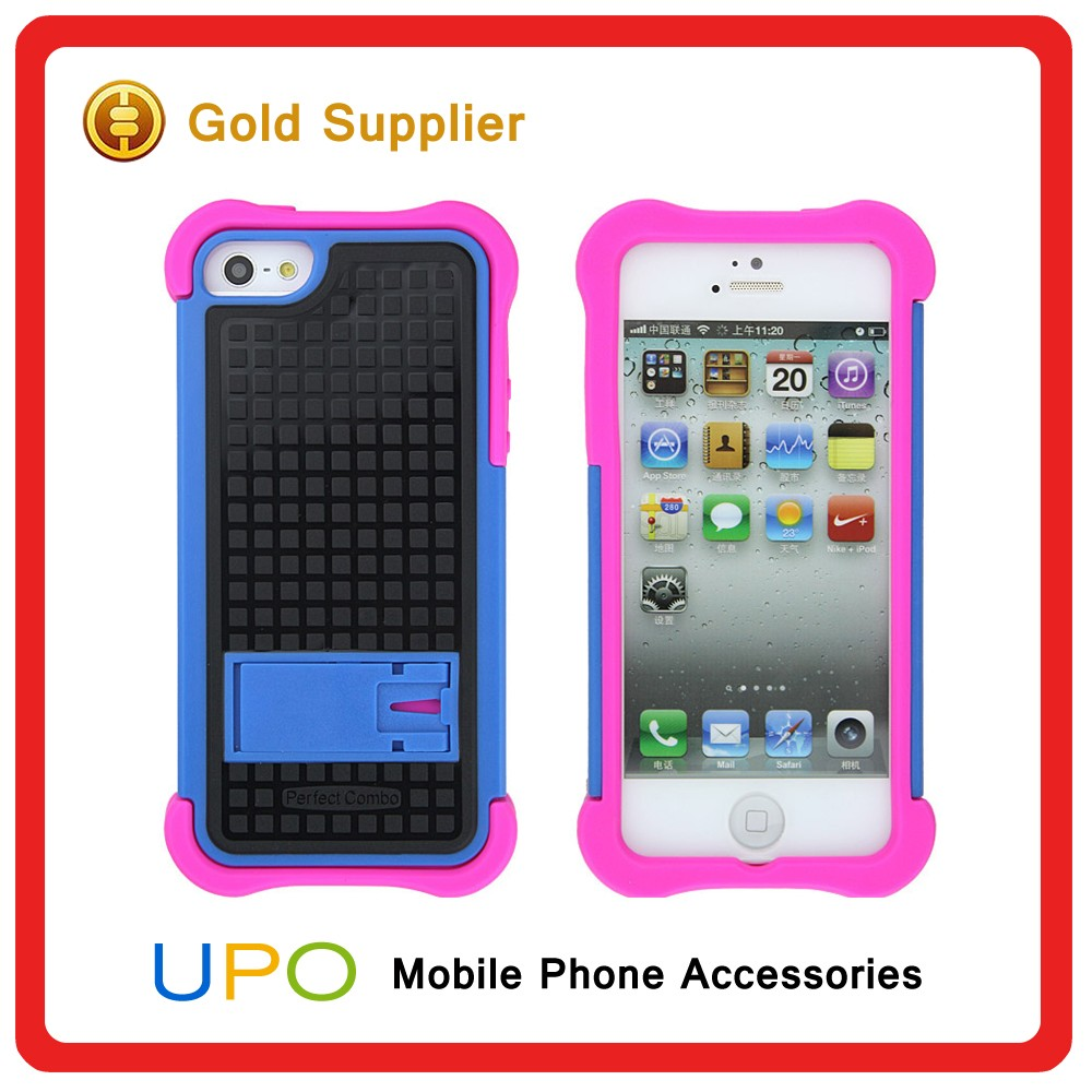 [UPO] High Quality Rubber Combo Armor Mobile Phone Cover Case for iPhone 5 with Kickstand