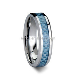 4MM Unisex Tungsten Ring Wedding Band Blue Carbon Fiber Inlay Beveled Edges Comfort Fit