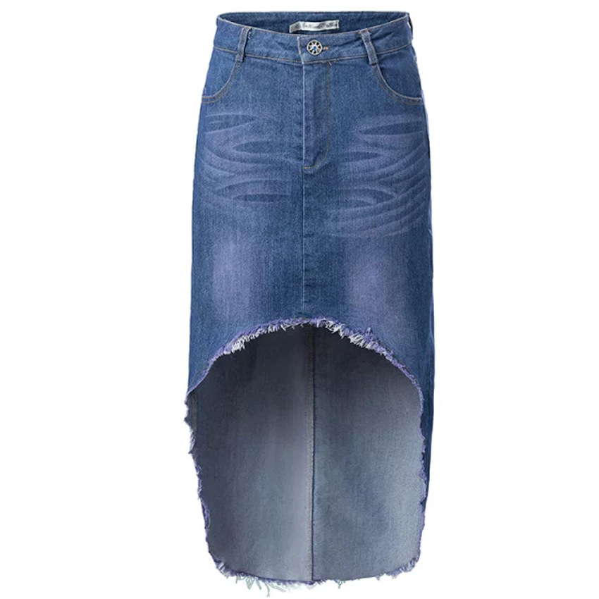 Enlishop Women Blue Zipper Bodycon Ruffle Elegant Fishtail Denim Maxi Long Skirt