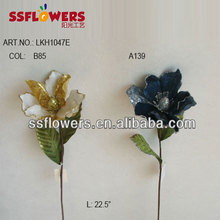 "Hot Sale Artificial Flower 23"" Artificial Velvet Single Magnolia With Glitter"
