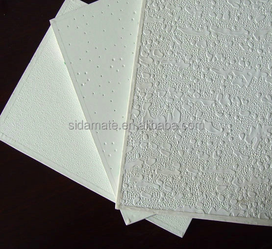 Gypsum Ceiling / PVC Plaster Ceiling Board / Vinyl Faced Gypsum Ceiling Tiles for false ceiling with ceiling t grids