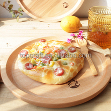 2015 Hand Carved Wooden Plate wholesale,Wood Artisan Serving Platter for sale,Vintage wood round Japanese style tray