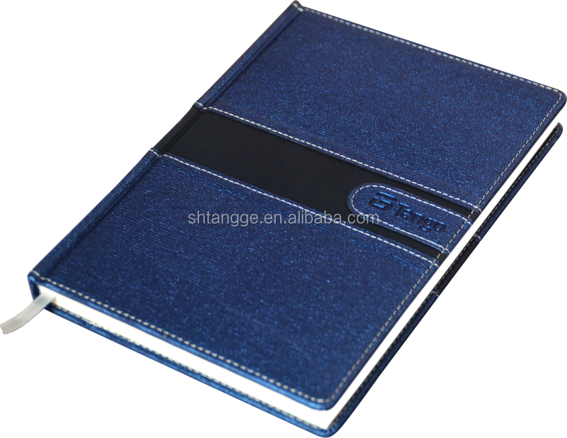 business meeting organizer embossed logo and pu leather notebook