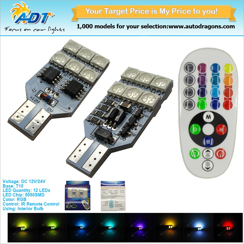 Remote Controlled t10 multi color and flash T10 194 168 152 158 W5W RGB Car LED Dome Light