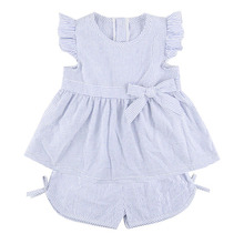 New style cute girls seersucker outfits 100% cotton baby dress& shorts Children Summer Clothing Sets