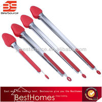 Quality Silicone Tipped Kitchen and Salad Tongs Stainless Steel Food Tongs with Silicone Grips Set