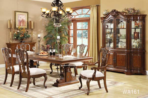 Cheap wooden carved dining table set classic dining room for Classic dining room furniture