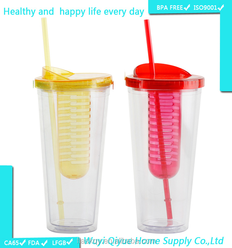 BPA free disposable plastic water bottle fruit infuser with lid & straw/water cup fruit infuser