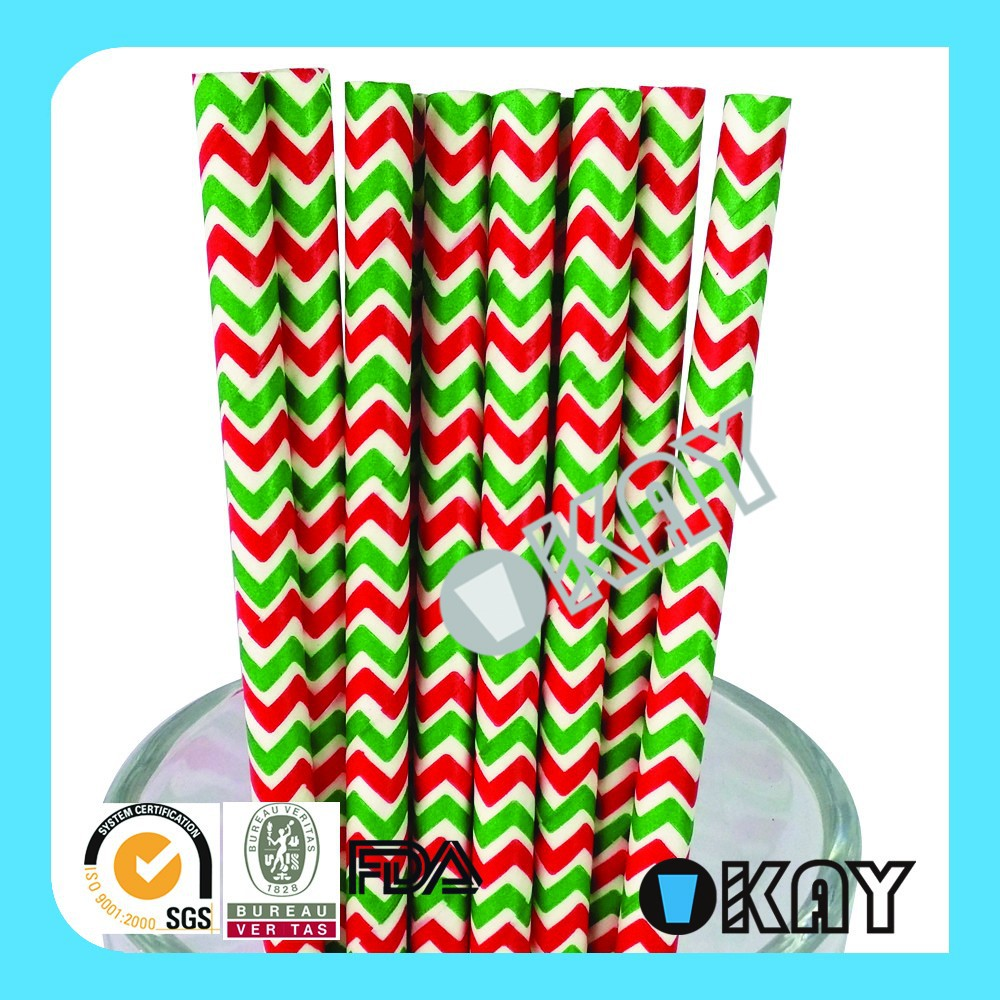 <strong>Christmas</strong> Red and Green Chevron Paper Straws