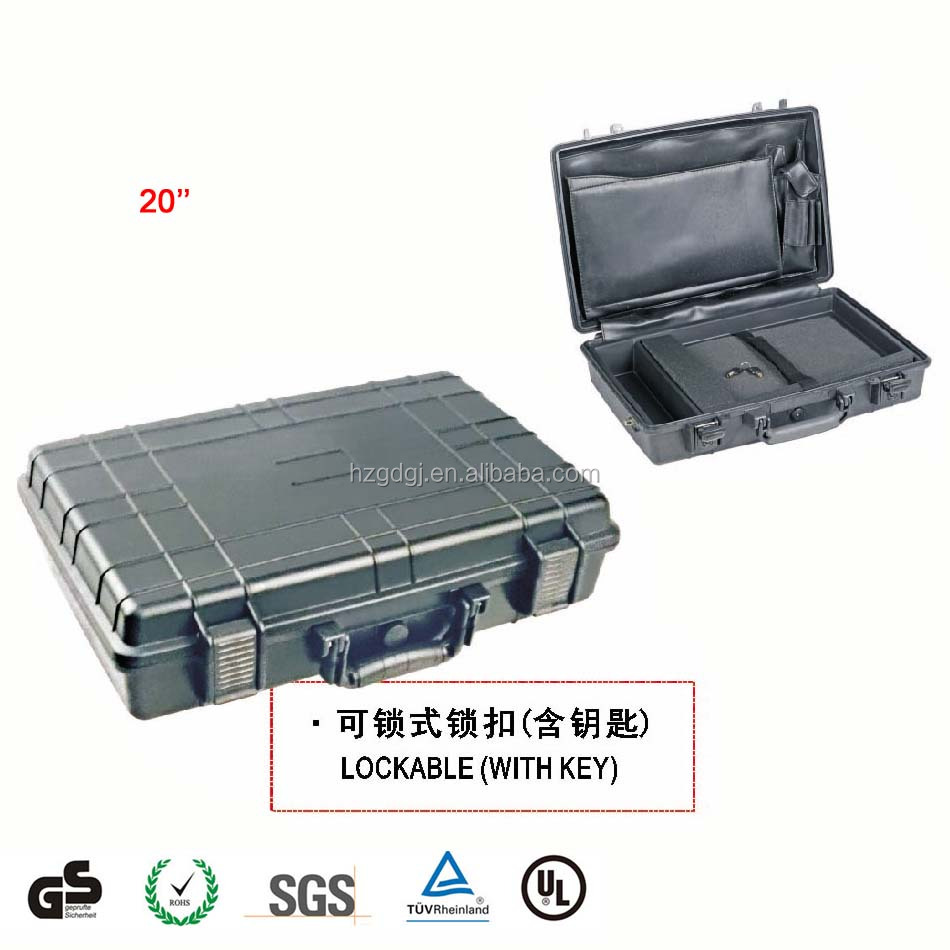 waterproof case, shockproof box, handle hard plastic tool box with foam