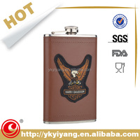 SGS Professional Service leather with laser cut sex russia girls hip flask gift set