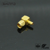 Gold plating SMC connector male right angle for cable