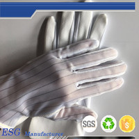Electronic Work Anti Static Glove With PVC Dot Coated