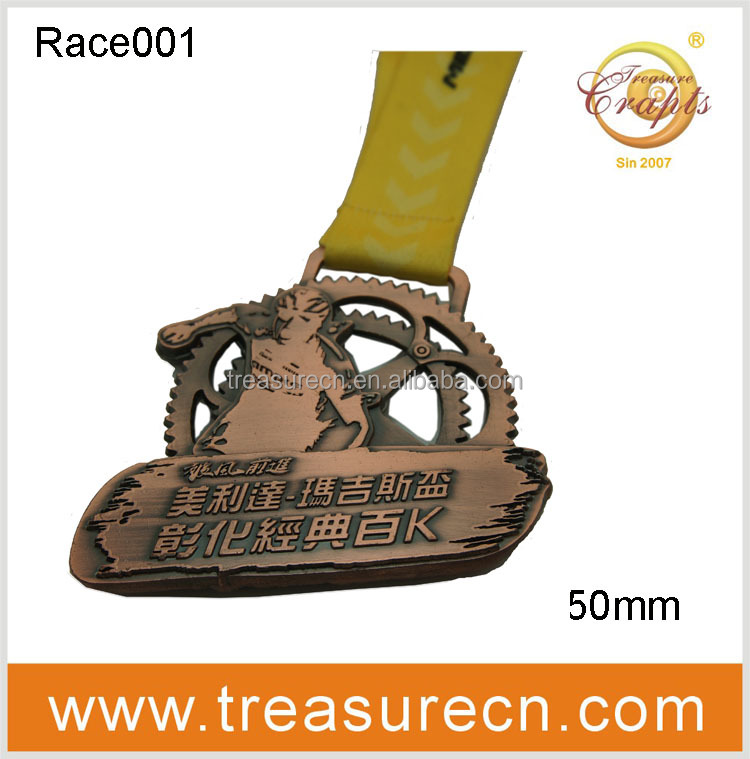 3D Customized carved and plated gold bike race medal