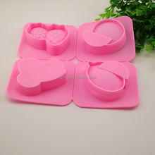 FDA easy release 4 fruit cherry watermelon strawberry shaped silicone cake mold soap mold for wholesale