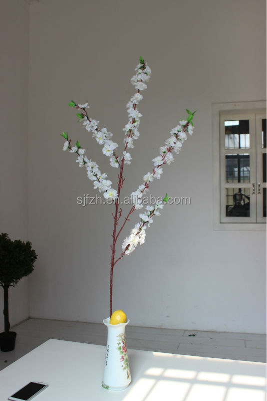 2014 SJ B006 Wedding decor in table flower artificial white cherry flower branches silk fake plastic cherrry flower branches