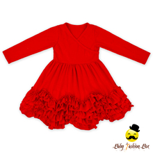 Bulk Wholesale 1-6 Years Old Baby Girl Dress V-Neck Long Sleeve Skirt Ruffles Cutting Baby Dress Pictures