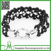 Link Silver Skull Gothic Chain Biker Men's Stainless Steel Genuine Leather Braided Bracelet