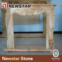 Newstar Yellow Marble Fireplace Mantel Modern