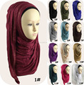 Wholesale Rhinestones Crystal muslim Scarf Women Hijab Plain Cotton Jersey Slip on Instant Shawl QK027