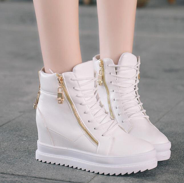 up-0187r Fashion girls sports sneakers leisure white and black wedge platform shoes