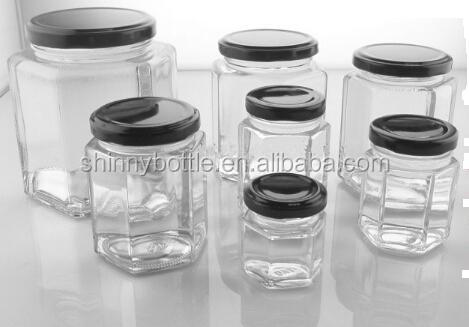 45ml 80ml 180ml 280ml 380ml 750ml polygonal shape glass jar for jam jelly honey pickle