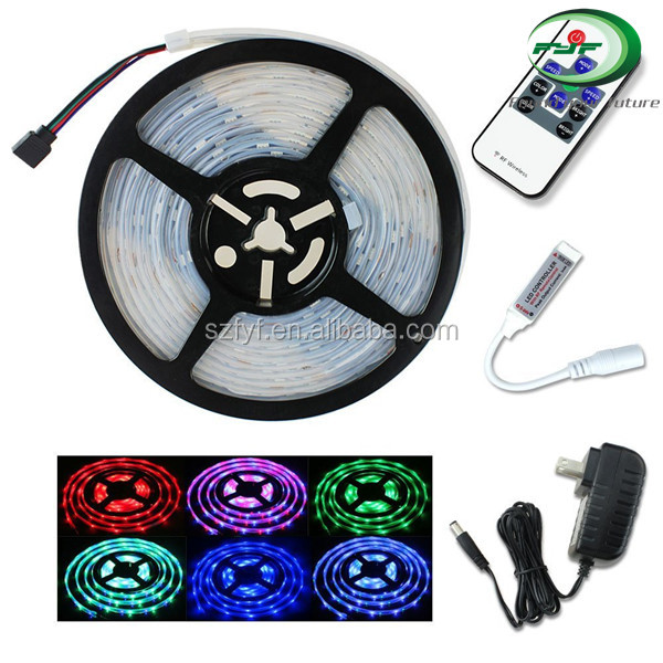 16.4ft 5meter Waterproof 3528 SMD Flexible 300 LEDs RGB Color Changing LED Strip Light RF Remote Controller 12V Power Suppy