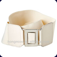 Women s Fashion Elastic Belt With Square Buckle - Cream