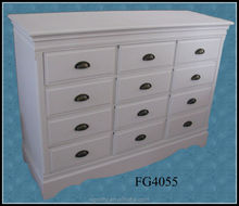 white painted wooden chest of 12 drawers / wooden indoor furniture / white wooden storage cabinet