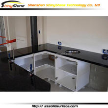 Contemporary hotel project artificial marble new design kitchen island cabinet