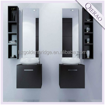 Wall mounted black double vanity with side cabinet GBP-1425