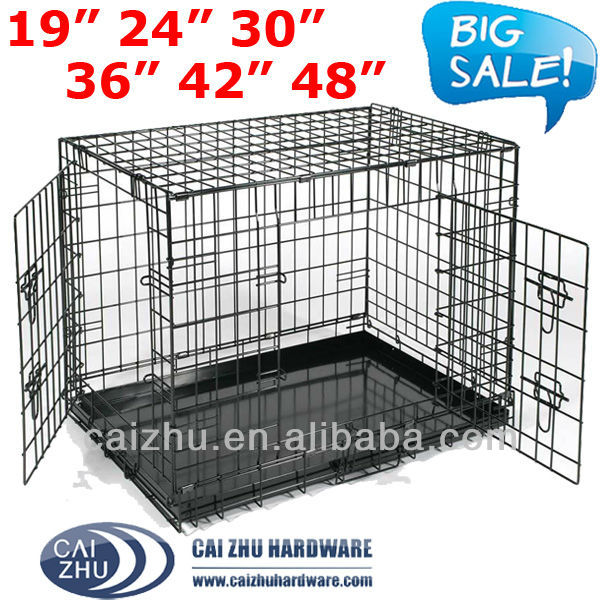 Easy to Carry 6 Sizes Foldable Metal Dog Cage Crate Guangzhou Factory