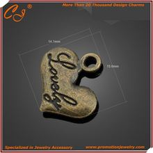 Message Charm I love you hear Heart metal Best quality Charm Producter Made Bronze Color Heart International Selling