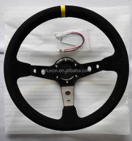 14 inch black suede leather racing steering wheels made in china